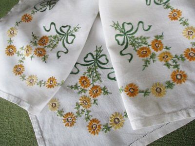 Vintage Tablecloth - Hand Embroidered Flowers & Bows - Linen