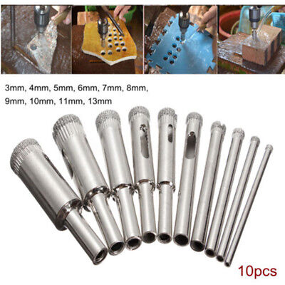 10PCS Diamond Coated Core Drill Bit Tile Marble Glass Ceramic Hole Saw 3mm-13mm