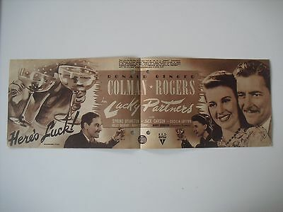 Original Movie Film Program LUCKY PARTNERS. RKO 1940. Programa de mano,cine