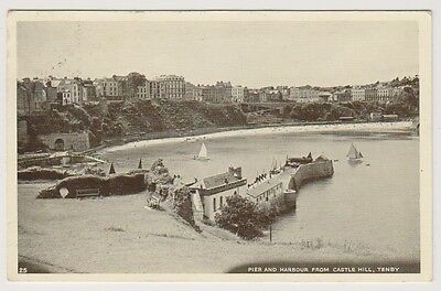 Wales postcard - Pier and Harbour from Castle Hill, Tenby - P/U 1955