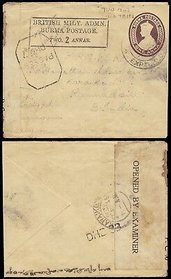 Burma Military Envelope With Censor + Experimental Cancel To India