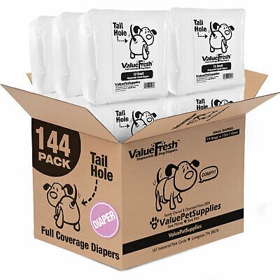 ValueWrap Disposable Diapers for Dogs, Small 144ct (12 x 12ct)