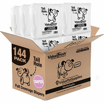 ValueWrap Disposable Diapers for Dogs, X-Small 144ct (12 x 12ct)