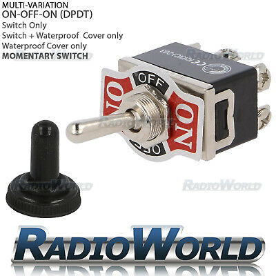 Heavy Duty Toggle Switch 10A 12V ON/OFF/ON Car Light DPDT Momentary Waterproof