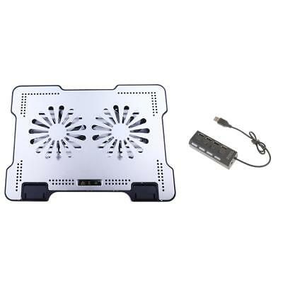 """LED Quiet 15.6"""" Notebook Cooling Pads w/Adjustable Stand+USB 2.0 Hub 4 Ports"""
