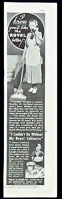 Vintage 1935 Royal Vacuum Cleaner and Culinaire Mixer Magazine Ad