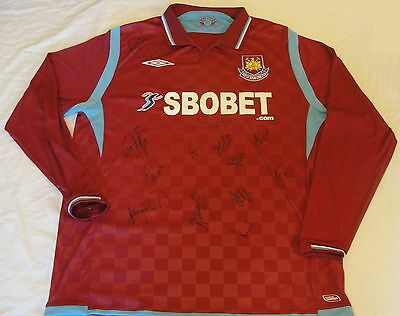 West Ham United Football Club 2009/10 Home XL Shirt Autograph Dyer Cole Diamanti