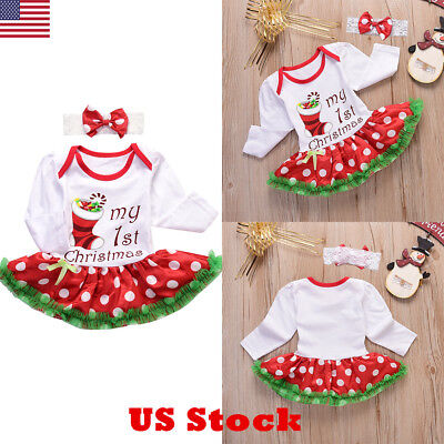 USA Baby Girls Kids My First Christmas Jumpsuit Fancy Tutu Dress Outfit Clothes