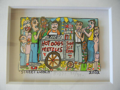 James Rizzi STREET LUNCH Original 3D-Konstruktion Handsigniert nummeriert lim.