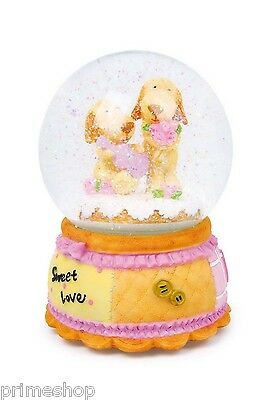 "5672 Snow Globe Romance Dogs Melody "" for Elise "" 15 x 10 cm NEW ORIGINAL BOX"