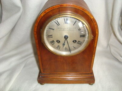 LOVELY ANTIQUE QUALITY WARING & GILLOW LTD LONDON&PARIS MANTEL CLOCK INLAID 8day