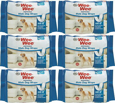 Four Paws Wee-Wee Disposable Male Dog Wraps, Medium/Large 72ct (6 x 12ct)