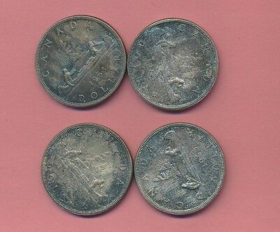 Canada Silver Dollars - 1963 - Premium Gem Original Toned Uncirculated ! (4) #a