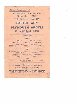 Exeter City v Plymouth Argyle 1955 - 1956 friendly  1st May 1956