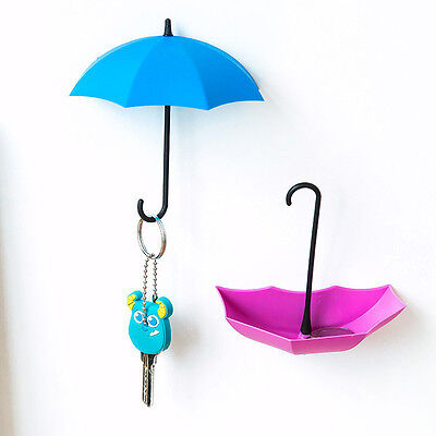 3pcs/set Cute Umbrella Wall Mount Key Holder Wall Hook Hanger Organizer Durable