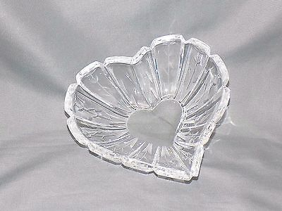 """Vintage Mikasa Crystal Heart-Shaped Dish with Etched Flowers, 6"""""""