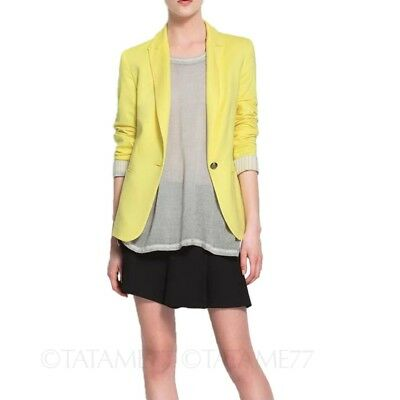 Yellow Office Womens boyfriend Suit jacket Basic Style blazer Cardigan Size 8