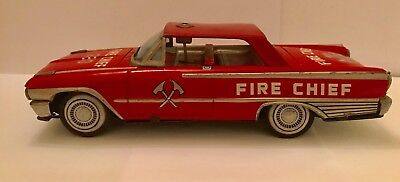 1960's Vintage Tin Plate Ford Fire Chief Car