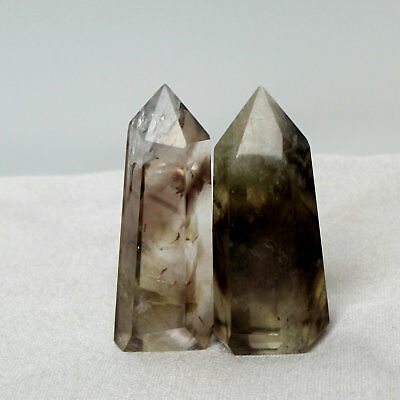 64g 2Pcs Smoky Ghost Quartz Natural Citrine Crystal POINT HEALING