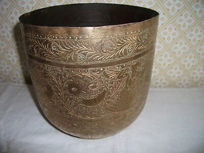 Vintage Engraved Ethnic Indian Brass Planter