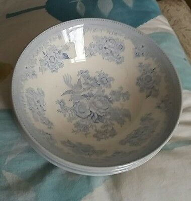 Set of x4 Burleigh Asiatic Pheasants pattern cereal  / soup bowls