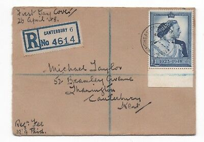 GB. 1948 Silver Wedding £1. FDC.
