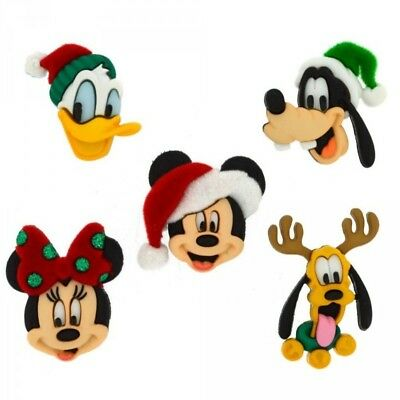 5 Disney Xmas Mickey & Friends Dress It Up Novelty Craft Button Embellishments