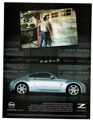 2003 NISSAN 350Z Original Print AD - 2-door coupe silver car photo french canada