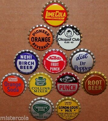 Vintage soda pop bottle caps 12 ALL DIFFERENT cork lined mix #25 new old stock