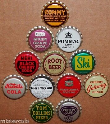 Vintage soda pop bottle caps 12 ALL DIFFERENT cork lined mix #29 new old stock