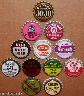 Vintage soda pop bottle caps 12 ALL DIFFERENT cork lined mix #32 new old stock