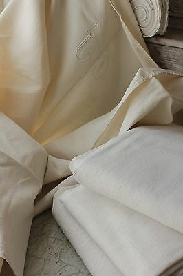 4 Vintage French metis linen cotton blend sheets monogram unbleached 4 matching