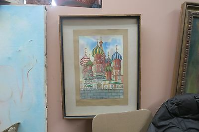 Vintage Signed Saint Basil's Cathedral Red Square Moscow Watercolor Painting