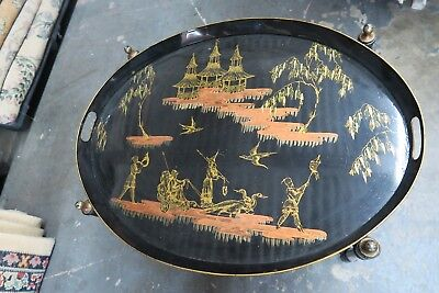 "Antique Vintage Japanese Oriental Painted Scene Black Lacquer Table Tray 19""x25"""