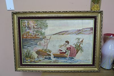 Antique Hand Stitched Berlin Woolwork Petitepoint Tapestry Courting Scene Framed