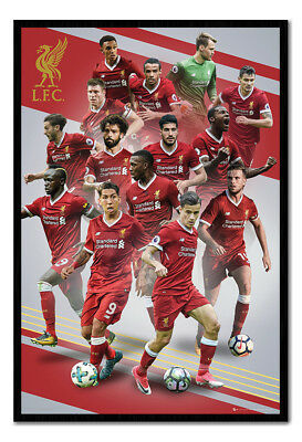 Framed Liverpool FC Players 2017 / 2018 Season Poster New