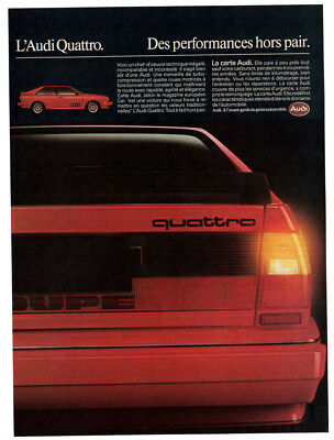 1984 AUDI Quattro Coupe Vintage Original Print AD - red car photo french sport