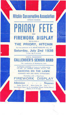 Poster, Hitchin Conservative Association Priory Fete, July 1938