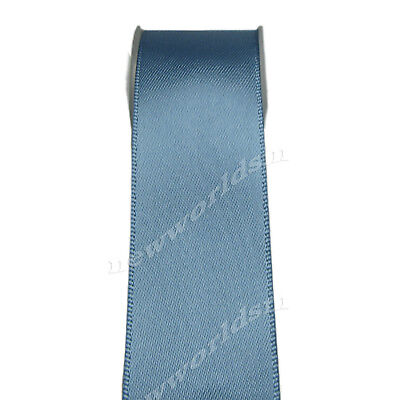 """4y 57mm 2 1/4"""" Antique Blue Double Faced Wide Heavy Satin Ribbon Eco FREE PP"""