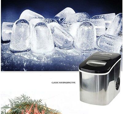 New Small Commercial Desktop Coffee Ice Maker Stainless Steel Automatic Quick &
