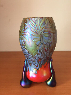 Signed IGOR MULLER Iridescent Czech Studio Art Glass Oil Spot Vase Three Foot