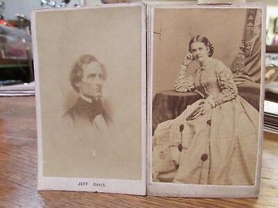 Original Civil War Cdv Confederate President Jeff Davis And Wife ...nr.