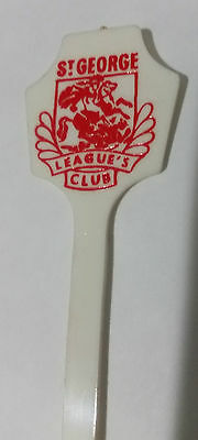 St George Dragons Leagues Club swizzle stir stick 1970's barware pre NRL merger