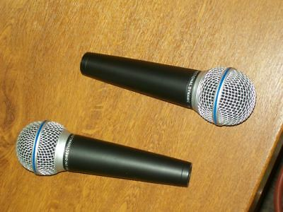 Pair Of Rsq Pm-600 Vocal Microphones & Xlr To Jack Leads (Shure Sm58 Lookalikes)