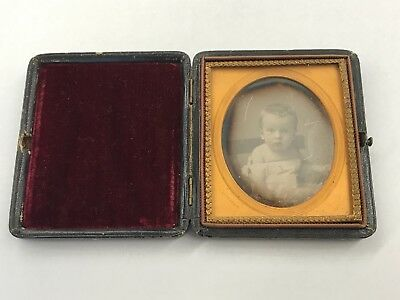 Hand Tinted Cased Sixth Plate Daguerreotype of Wide Eyed Baby S. Broadbent Mat