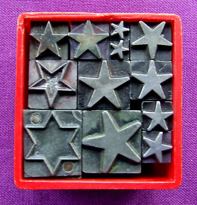 Letterpress Printing ADANA Small Box of ONLY STARS 12pt - 42pt Metal Type pieces