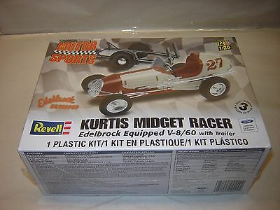 Revell 4249 KURTIS MIDGET RACER Edelbrock Equipped v-8/60 w/ Trailer 1/25 Sealed