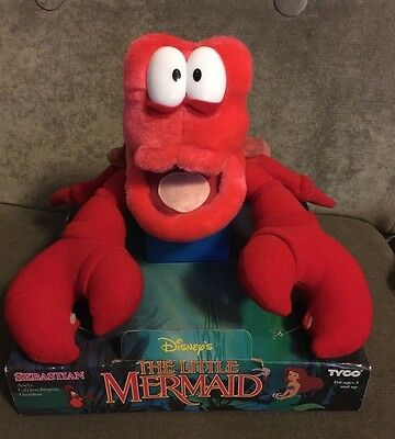 """Vintage 1991 Tyco The Little Mermaid 10"""" Sebastian the Crab Plush New on Package"""