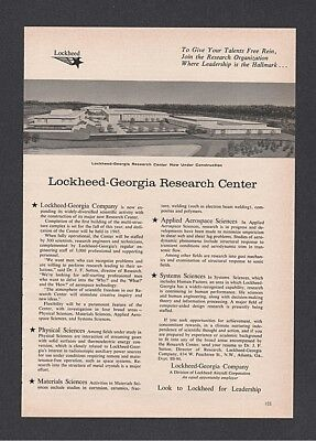 1964 Lockheed Georgia Research Center Under Construction Architectural print ad