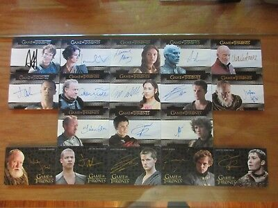Game of Thrones Valyrian Steel Trading Cards 18 Card Autograph Lot/Set w/ Gold